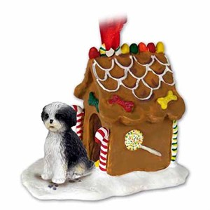 Shih Tzu Gingerbread House Christmas Ornament Black-White Sport Cut
