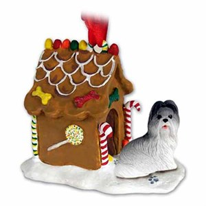 Shih Tzu Gingerbread House Christmas Ornament Gray