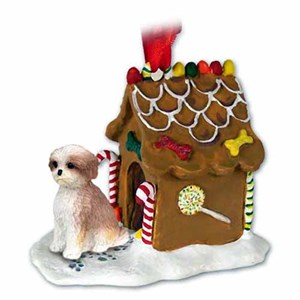 Shih Tzu Gingerbread House Christmas Ornament Tan Sport Cut