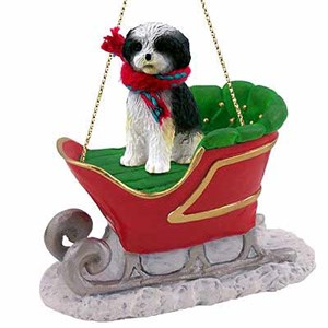 Shih Tzu Sleigh Ride Christmas Ornament Black-White Sport Cut