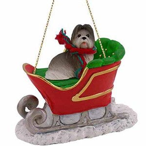Shih Tzu Sleigh Ride Christmas Ornament Gray