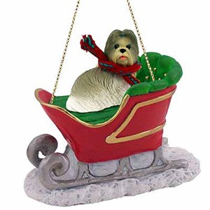 Shih Tzu Sleigh Ride Christmas Ornament Mixed