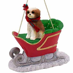 Shih Tzu Sleigh Ride Christmas Ornament Tan Sport Cut