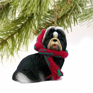 Shih Tzu Tiny One Christmas Ornament Black-White