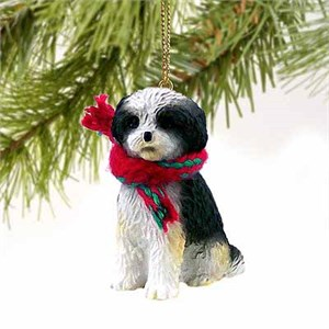 Shih Tzu Tiny One Christmas Ornament Black-White Sport Cut