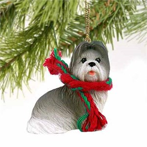 Shih Tzu Tiny One Christmas Ornament Gray