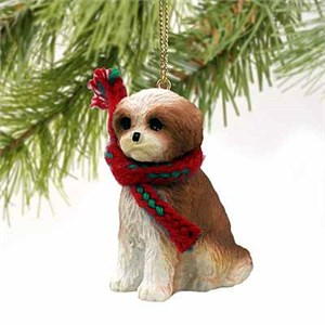 Shih Tzu Tiny One Christmas Ornament Tan Sport Cut