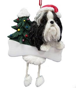 Shih Tzu Christmas Tree Ornament - Personalize (Black and White)