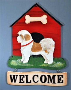 Shih Tzu Welcome Sign Brown & White