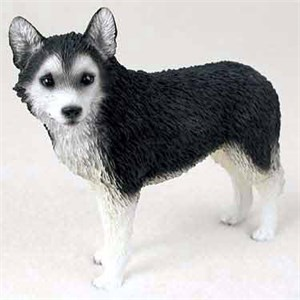 Siberian Husky Figurine BW Bn Eyes