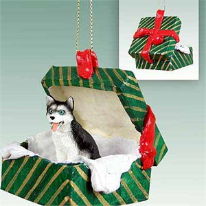 Siberian Husky Gift Box Christmas Ornament Black-White Blue Eyes