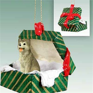 Siberian Husky Gift Box Christmas Ornament Gray-White Brown Eyes