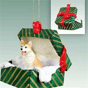 Siberian Husky Gift Box Christmas Ornament Red-White Blue Eyes