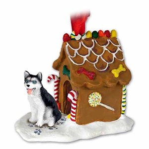 Siberian Husky Gingerbread House Christmas Ornament Black-White Blue Eyes