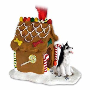Siberian Husky Gingerbread House Christmas Ornament Black-White Brown Eyes
