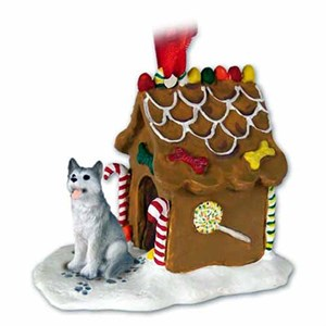 Siberian Husky Gingerbread House Christmas Ornament Gray-White Brown Eyes