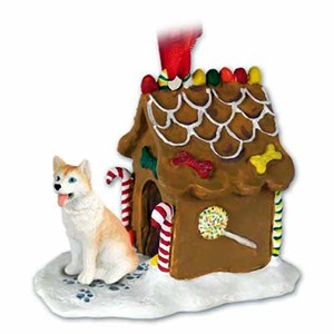Siberian Husky Gingerbread House Christmas Ornament Red-White Blue Eyes