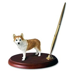 Siberian Husky Pen Holder (Red & White Blue Eyed)
