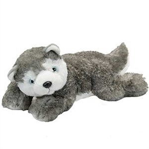 Laydown Siberian Husky Plush Stuffed Animal 15""