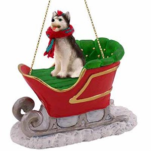 Siberian Husky Sleigh Ride Christmas Ornament Black-White Blue Eyes