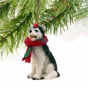 Siberian Husky Tiny One Christmas Ornament Black-White Blue Eyes