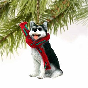 Siberian Husky Tiny One Christmas Ornament Black-White Brown Eyes