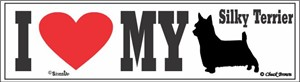 Silky Terrier Bumper Sticker I Love My
