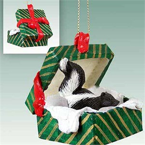 Skunk Gift Box Christmas Ornament