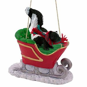Skunk Sleigh Ride Christmas Ornament