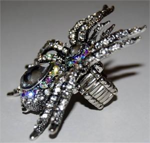 Glamorous Spider Rhinestone Stretch Ring