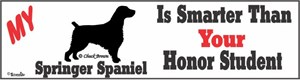 Springer Spaniel Bumper Sticker Honor Student