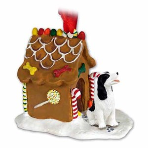 Springer Spaniel Gingerbread House Christmas Ornament Black-White