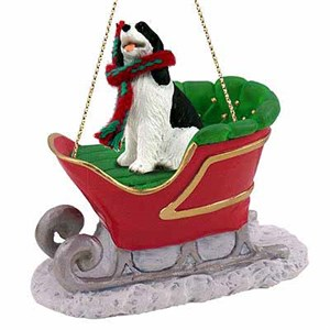 Springer Spaniel Sleigh Ride Christmas Ornament Black-White