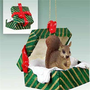 Squirrel Gift Box Christmas Ornament Red