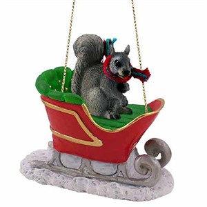 Squirrel Sleigh Ride Christmas Ornament Gray