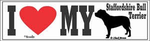 Staffordshire Bull Terrier Bumper Sticker I Love My