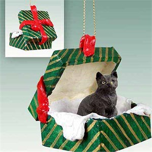 Tabby Cat Gift Box Christmas Ornament Black Shorthaired