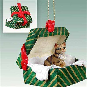 Tabby Cat Gift Box Christmas Ornament Brown Shorthaired