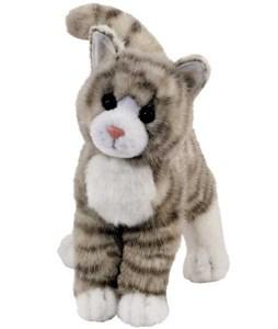 Tabby Cat Plush Stuffed Animal Grey 12 Inch