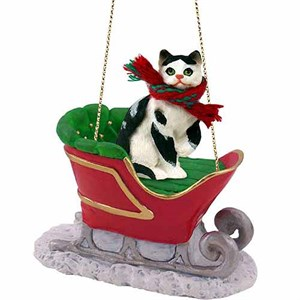 Tabby Cat Sleigh Ride Christmas Ornament Black-White Shorthaired