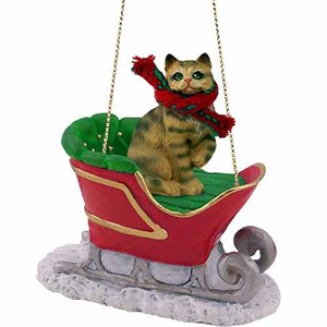 Tabby Cat Sleigh Ride Christmas Ornament Brown Shorthaired