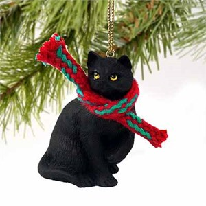 Tabby Cat Tiny One Christmas Ornament Black Shorthaired