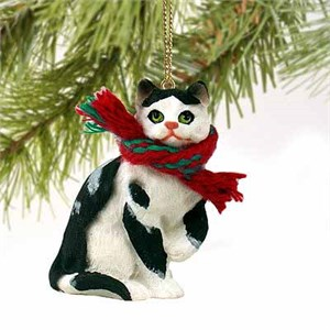 Tabby Cat Tiny One Christmas Ornament Black-White Shorthaired