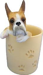 Boxer Pencil Holder Tan & White