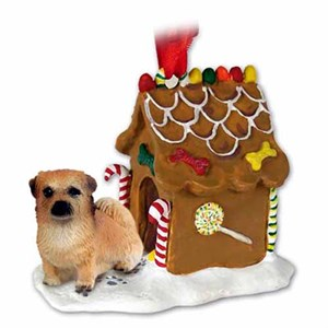 Tibetan Spaniel Gingerbread House Christmas Ornament