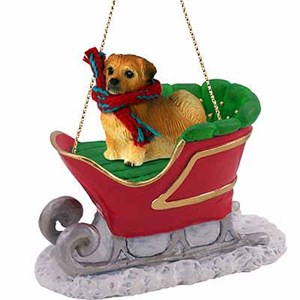 Tibetan Spaniel Sleigh Ride Christmas Ornament