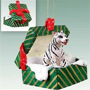 Tiger Gift Box Christmas Ornament White