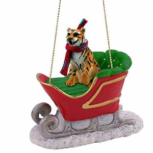 Tiger Sleigh Ride Christmas Ornament