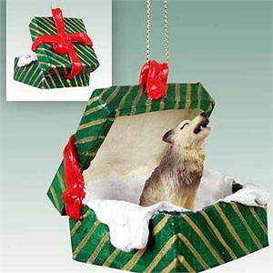 Timber Wolf Gift Box Christmas Ornament