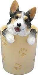 Tri Colored Corgi Pencil Holder